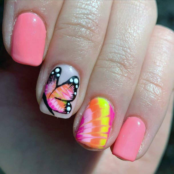Bright Summer Nails Shellac Orange Pink With Monarch Accent For Women