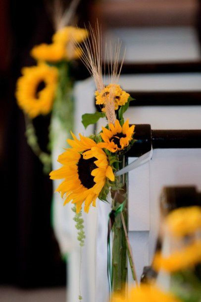 Bright Sunflower Ceremony Aisle Seat Bouquets Fall Wedding Ideas