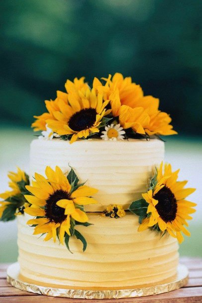 Bright Sunflower Elegant Wedding Cake Women