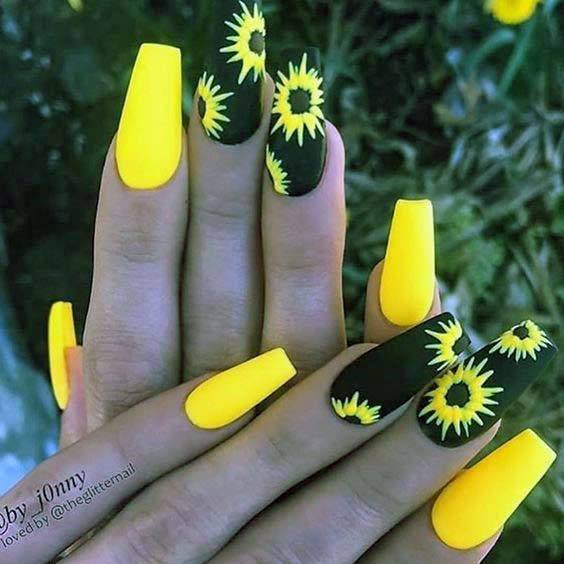 Bright Sunflower Yellow Nails With Black For Women