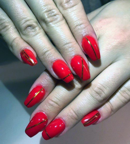 Bright Tomato Red Nails With Angled Golden Lines For Women