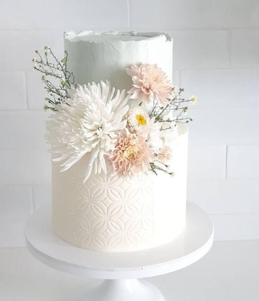 Bright White Buttercream Wedding Cake
