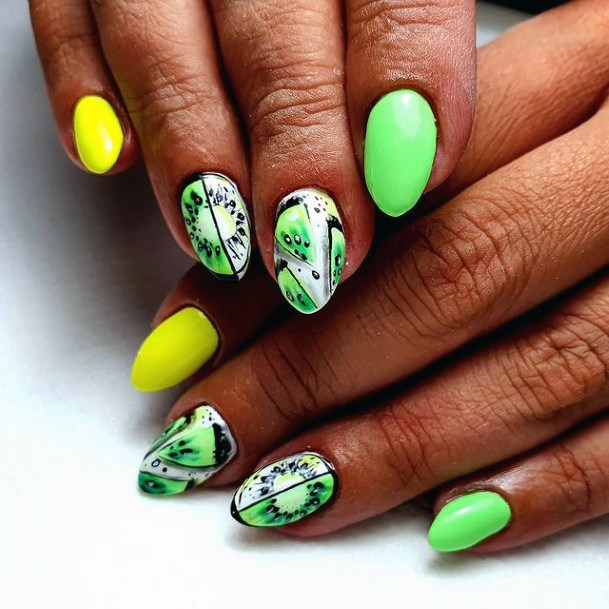 Bright Yellow And Kiwi Nails Women