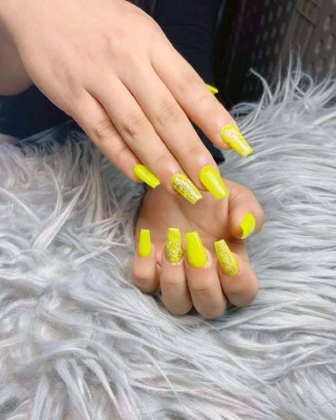 Bright Yellow Coffin Nails For Women