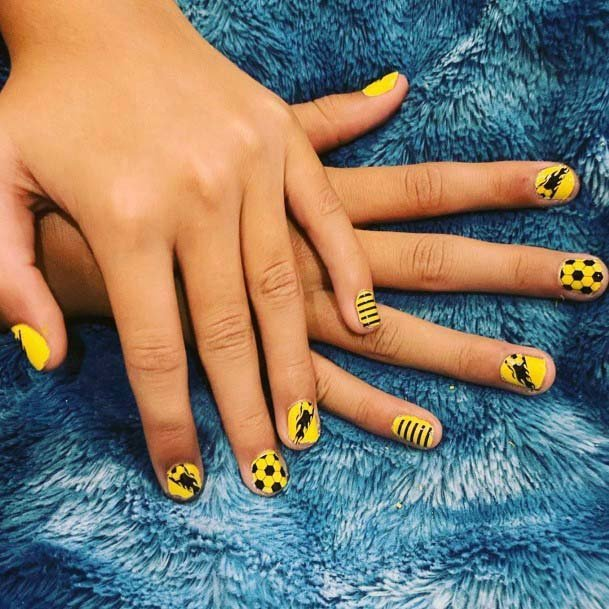 Bright Yellow Sport Nails For Women