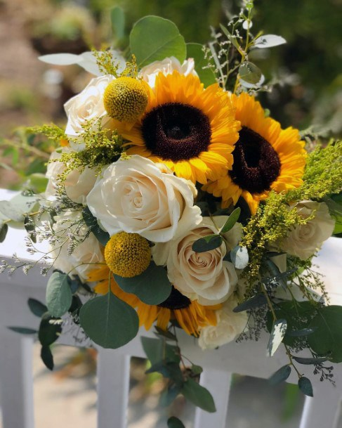 Bright Yellow Sunflowers And White Roses Bouquet