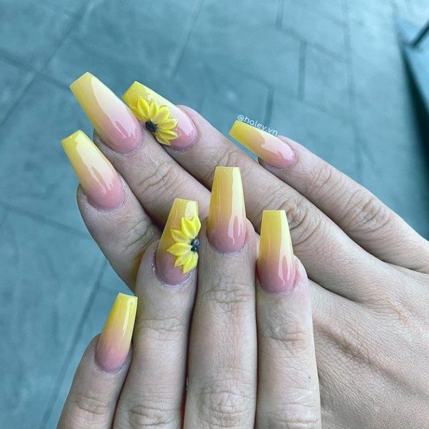 Bright Yellow Sunny Nails 3d Flowers Women
