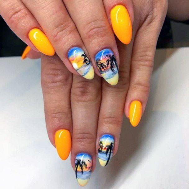 Bright Yellow Tropical Beach Themed Nails Women