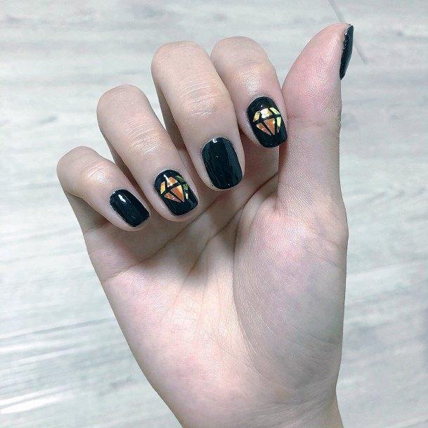 Brilliant Black Glass Nails For Women