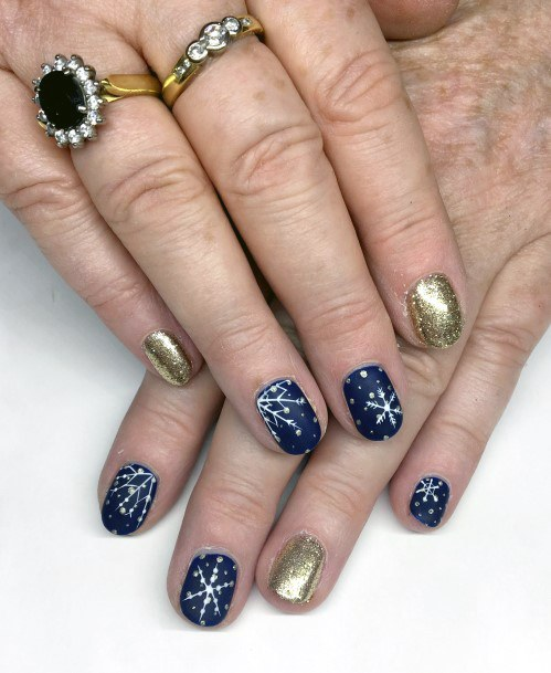 Brilliant Blue And Gold Snow Nails Women