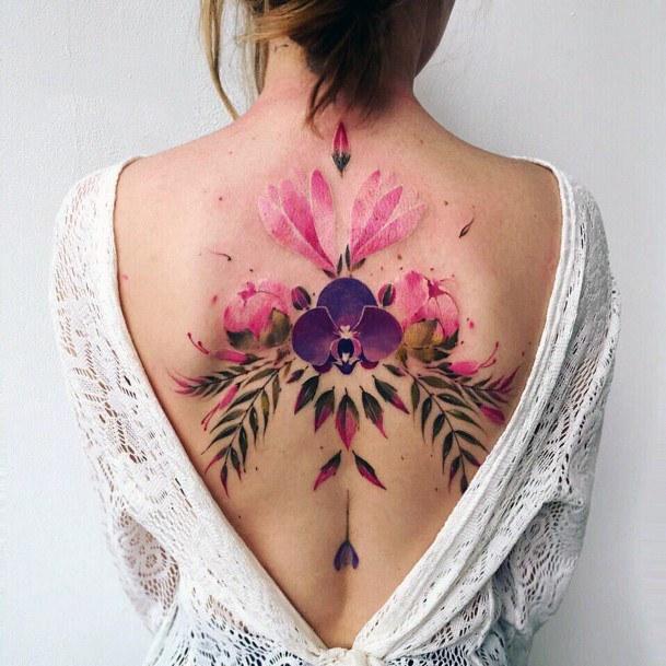 Brilliant Pink Petals Tattoo Spine Women