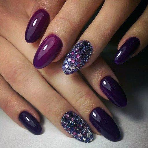 Brinjal Colored Nail Art