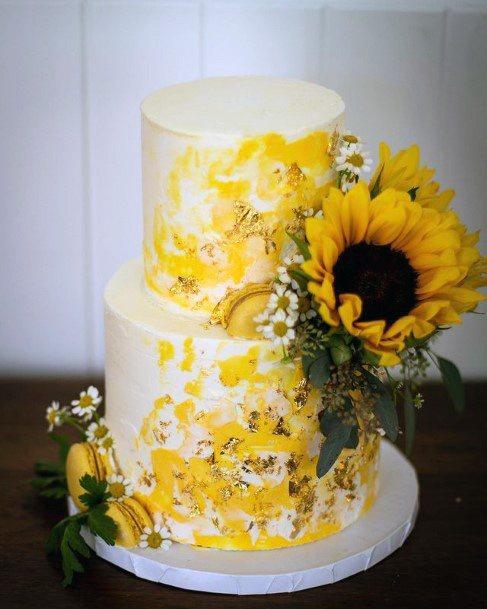 Broad Sunflowers On Womens Wedding Cake