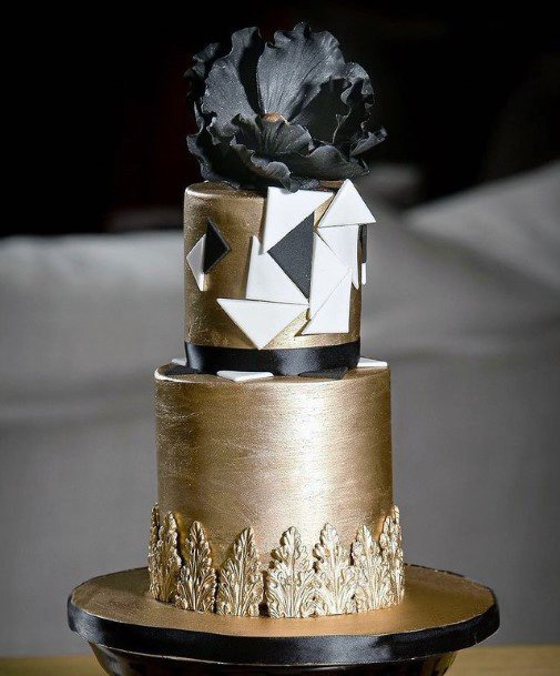 Bronze And Black Unique Wedding Cake