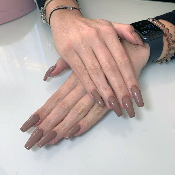 Bronze Brown Nails Women