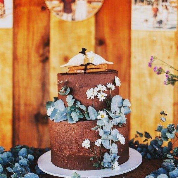 Brown 2 Tier Wedding Cake
