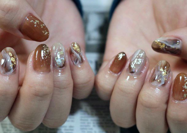 Brown And Gold Gleaming Nails Women