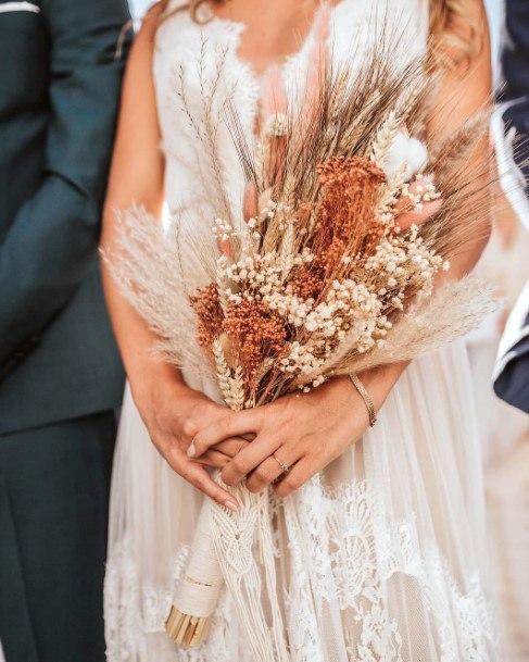 Brown And White Boho Wedding Flowers Light