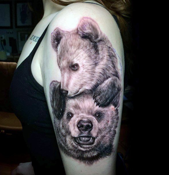 Brown Bear Couple Tattoo For Women Upper Arms
