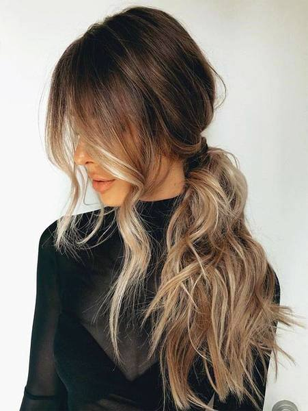 Brown To Blonde Balayage Pony Hairstyle Women