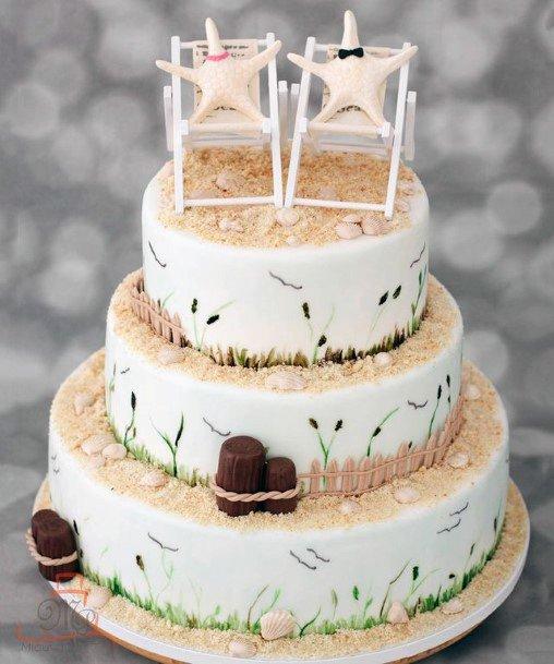 Brownish Sand Beach Wedding Cake Women