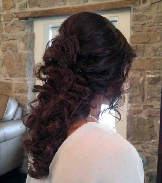 Brunette Cascading Curly Hair Women