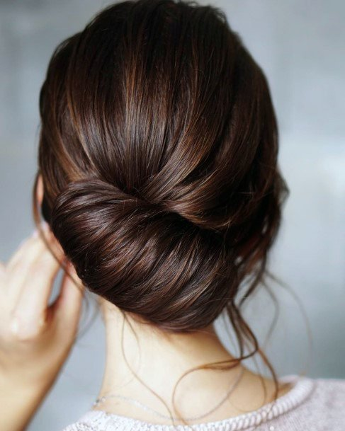 Brunette Sideswiped French Twist For Women And Girls