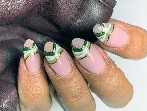 Brush Stroke Nail Design Gold And Green For Women