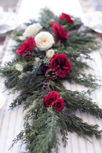 Budding Roses And Green Leaves Decoration Christmas Wedding Flowers