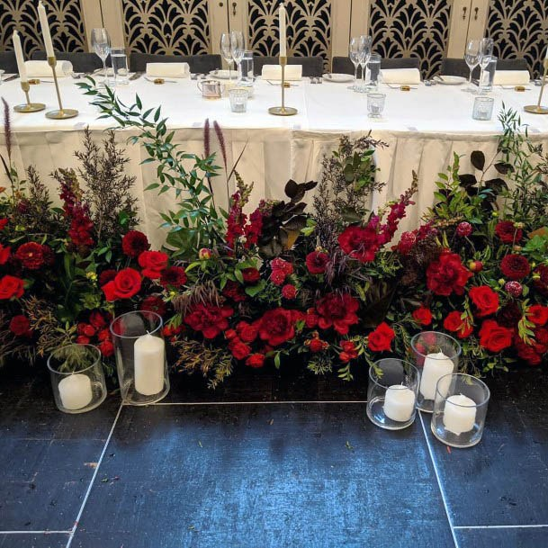 Bunches Of Red Roses Wedding Flowers