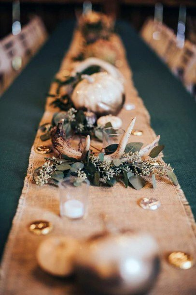 Burlap Runner With Greenery And Antler Centerpiece Decorations Rustic Wedding Ideas