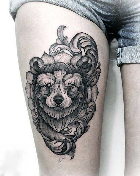 Bushy Grey Bear Tattoo For Women Thighs