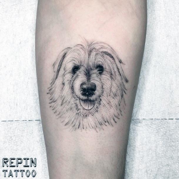 Bushy White Dog Tattoo For Women