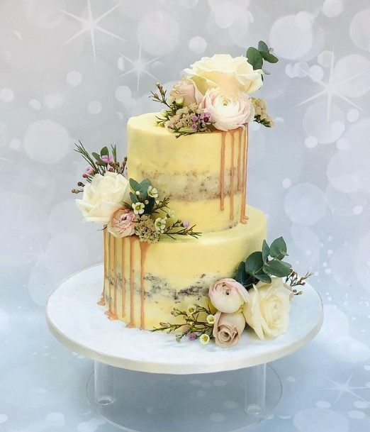 Butter Cup Yellow 2 Tier Wedding Cake