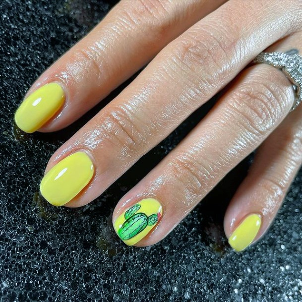Butter Yellow Cactus Nails Women