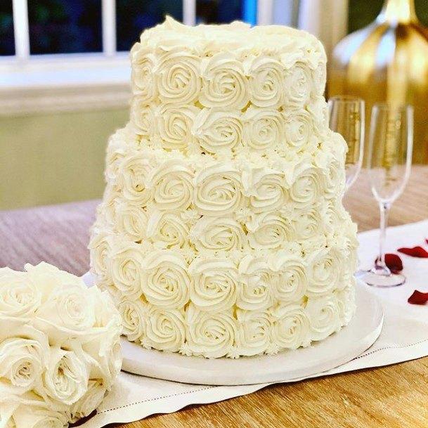 Buttercream Roses Red Velvet Wedding Cake