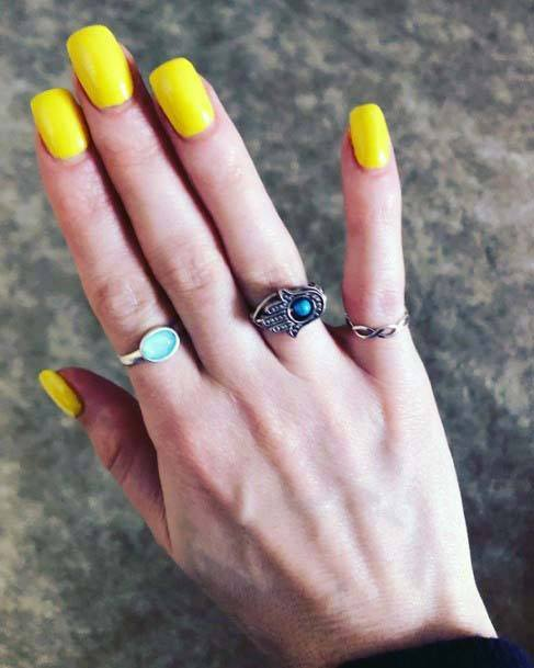 Buttercup Bright Yellow Nails For Women