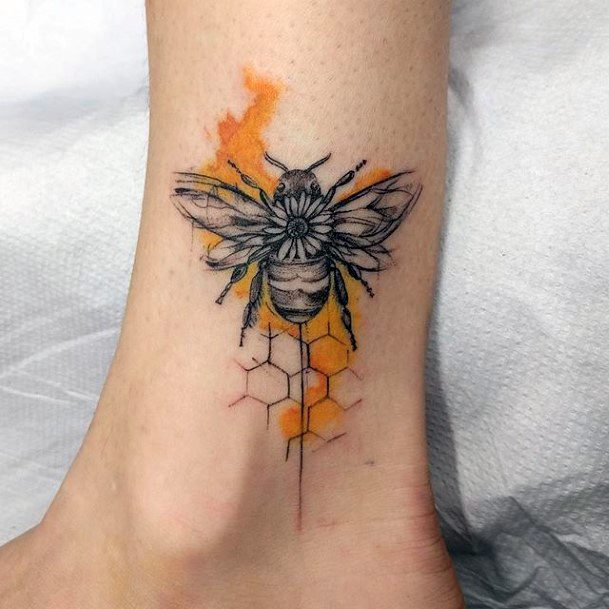 Buttercup Honey And Bee Tattoo Womens Ankles