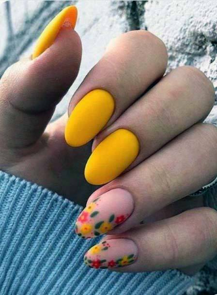 Buttercup Yellow And Coral Nails For Women