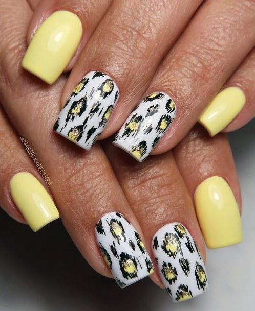 Buttercup Yellow Leopard Nails Women