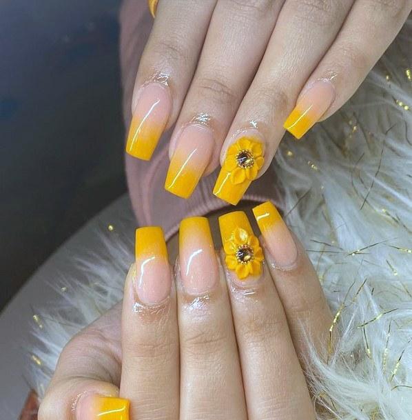 Buttercup Yellow Nails Women 3d Flowers