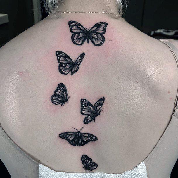 Butterflies Tattoo Spine Women