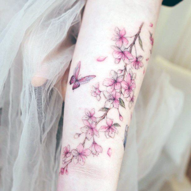 Butterfly And Cherry Blossom Tattoo For Women Hands