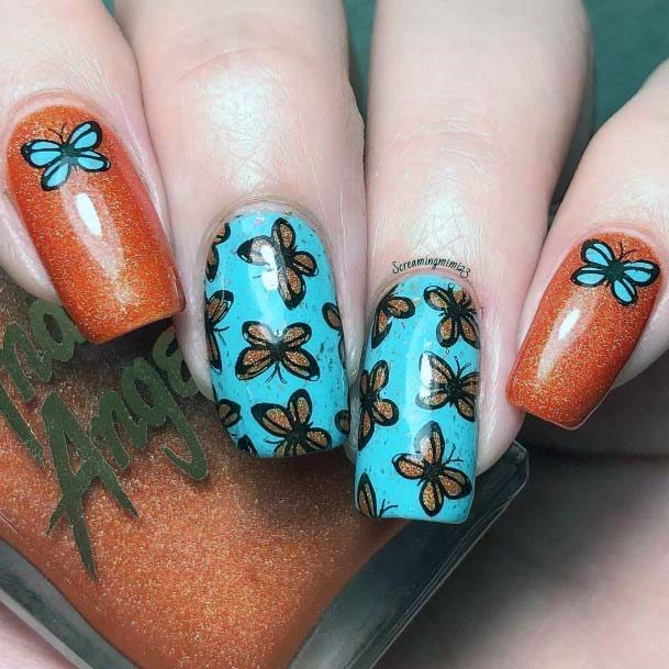 Butterfly Stickers On Blue And Orange Nails For Women