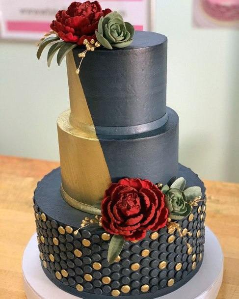 Button Design Blue And Gold Wedding Cake