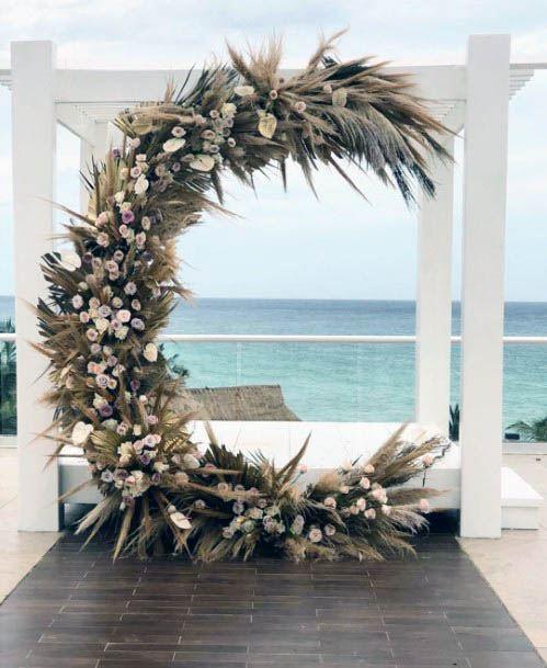 C Shaped Beach Wedding Flowers Decor