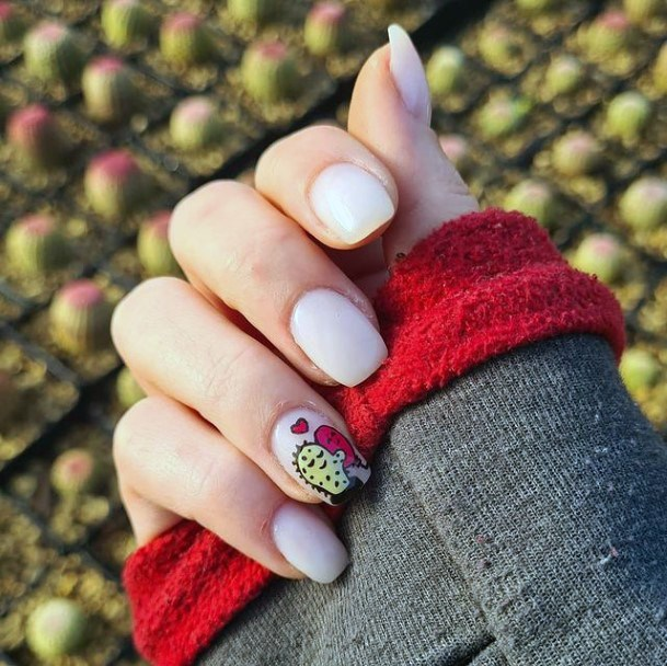Cactus Sticker Nails White Women