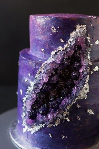 Cake Slice Amethyst Crystal Purple Wedding