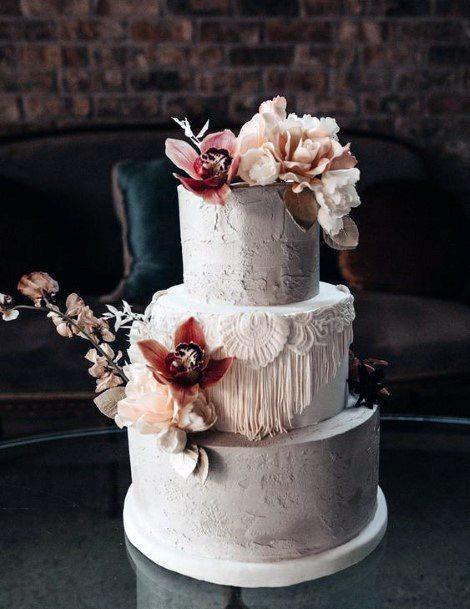 Cake With Boho Wedding Flowers Icing