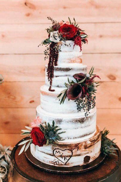 Cake With Red Wedding Flowers